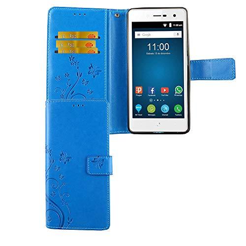 König Design Handy-Hülle geeignet für ZTE Blade-L7 | Blau | Blade-L7-Schutz-Hülle | Klapphülle-Blade-L7 | mit Kartenfach
