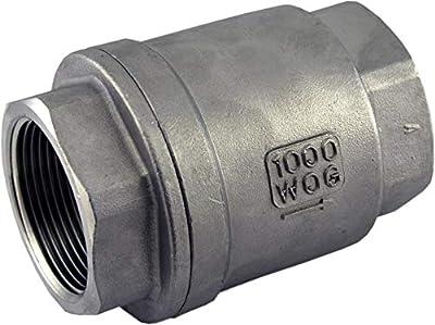 "304 Stainless Steel Vertical Check Valve 1-1/4"" NPT Spring Loaded In-line WOG1000 Low Cracking Pressure by Duda Diesel"