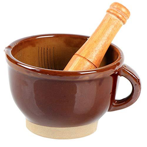 Cabilock 1 Juego de Mortero Y Mortero Prensa de Ajo de Madera Trituradora de Jengibre Juego de Molienda de Especias con Mango para Picadora Hierbas Condimentos Pastas Pestos
