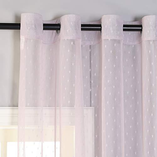 PimpamTex–Cortina Semi Traslúcida para Dormitorio,Salón o Habitación,1 Ud, Visillo semitraslúcido con 8 Ollaos,Cortina Elegante, Original,Variedad de Diseños y Colores (140 x 260 cm, Estrellitas rosa)