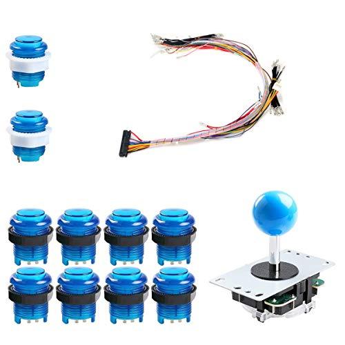 TAPDRA 1 Jugador 1P Arcade Botones y joysticks Kit de Bricolaje 1X joysticks + 10x Arcade Buttons Kit de Controlador de Juego para Pandora's Box Arcade Home Edition (Azul)