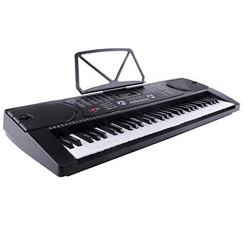 LAGRIMA 61 Tasten Klaviere Keyboards inkl. Mikrofon zum Mitsingen Elektronische Orgel Klavier Digital Piano Schwarz MK-2089
