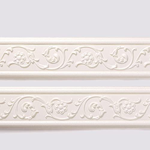 Cenefas Adhesivas Para Paredes Pvc Cenefa Autoadhesiva Para DecoracióN De Pared De Cocina BañOB blanco tallado 8cm X 69cm*3 Pcs
