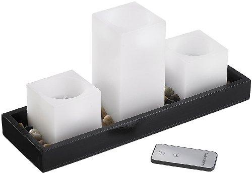 Britesta Flammenlose Kerzen: Feng-Shui-Dekoration: LED-Echtwachskerzen auf Holztablett (Echtwachs LED Kerzen)