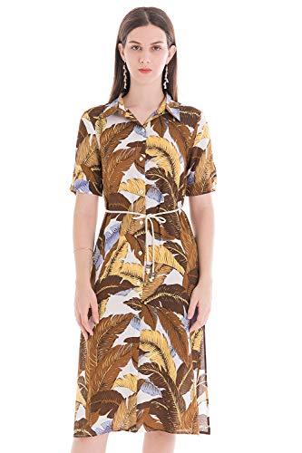 Dames zomer blouse-jurk Boho hemd jurken knopen bloemen polka korte mouwen knielange shirt jurk casual onpiece strand,8 kleuren, 34-42