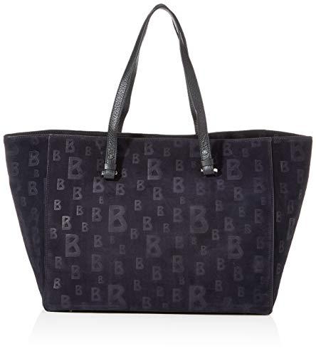 Bogner Damen Shopper Lofer Leonie aus Leder Handtasche mit Reißverschluss, Blau (Darkblue), 20x32x58 cm (B x H x T)
