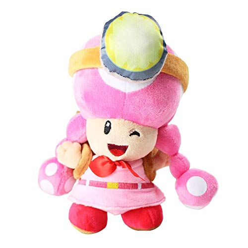 cute toy 20cm Super Mario Bros Mushroom Toad Adventure Backpack Pink Plush Toy Toadette Soft Stuffed Dolls