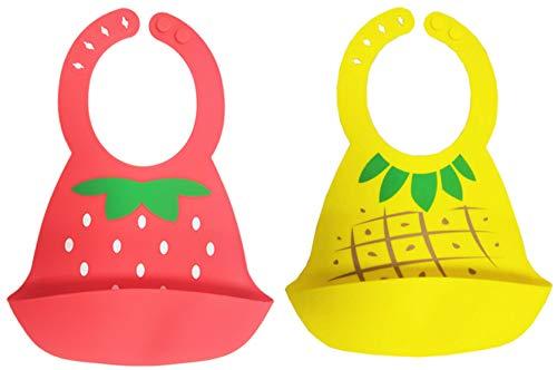 Chilsuessy Silikon Lätzchen mit praktischer Auffangschale für Babys und Kleinkinder wasserdicht, leicht abwaschbar (Ananas+Erdbeere)