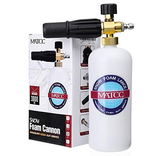 "MATCC Foam Cannon II Foam Nozzle Pressure Washer Jet Wash with 1/4"" Quick Connector Foam Blaster 0.22 Gallon Bottle Improved Snow Foam Lance"