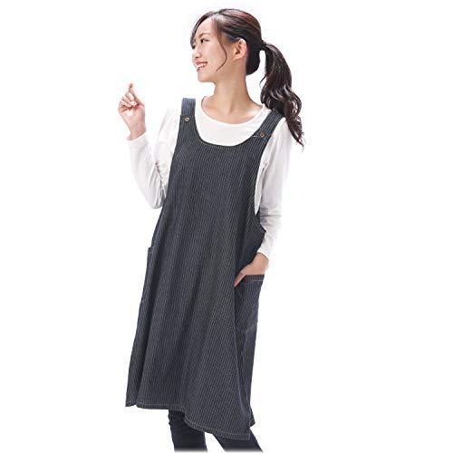 NISHIKI[ニシキ] デニムエプロン 綿100% 肌にやさしい《ゆったり着られるロング丈》【選べるカラー/無地・ヒッコリー】ポケット付き かぶりタイプ かわいい ナチュラル おしゃれ レディース 大人用 背付きエプロン apron 【インディゴヒッ