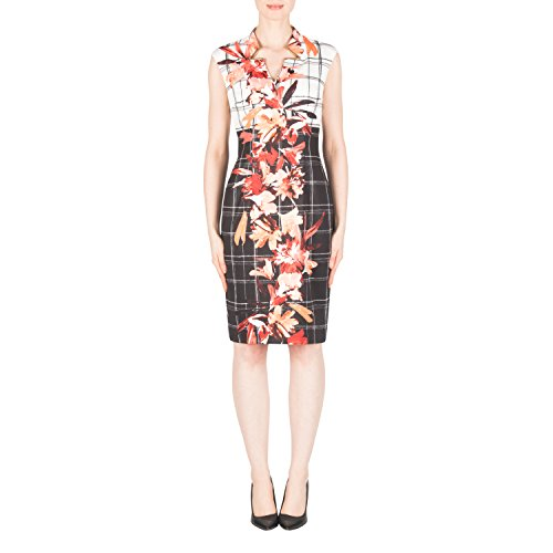 Joseph Ribkoff Graphic Floral Print Cap Sleeve Dress Style 183764 Size 16