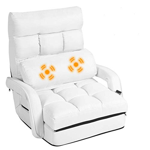 Giantex Updated Folding Massage Lazy Sofa Floor Chair Sofa Lounger Bed with Armrests and a Pillow Lounger Bed Chaise Couch (White)