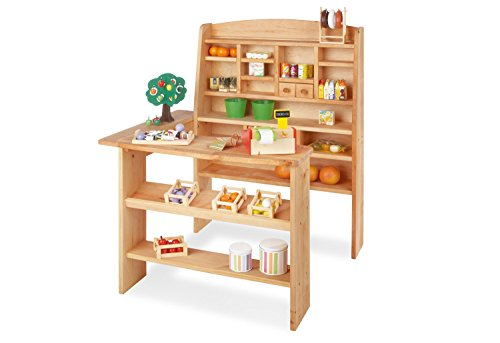 Pinolino Kaufladen Emma, aus massivem Holz, besonders standfest, Tresen rechts oder links montierbar, für Kinder ab 2 Jahren, geölt