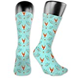 BRECKSUCH Fox Head Unisex Compression Socks Sports 3D Printed Stocking Running&Fitness Thich-high Long