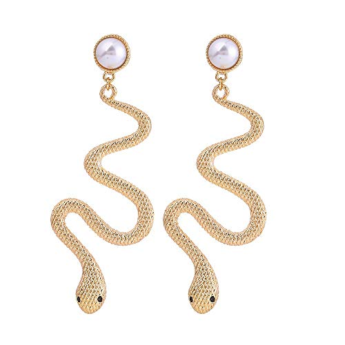 Metal Snake Simulation Pearl Earring Classic Gifts Wholesale Charm Fashion Jewelry Drop Earrings For Women Gothic Trendy Egypt