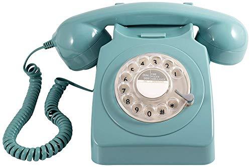 GPO 746 Teléfono fijo de disco con estilo retro de los años 70 - Cable en espiral, Timbre auténtico - Azul cielo