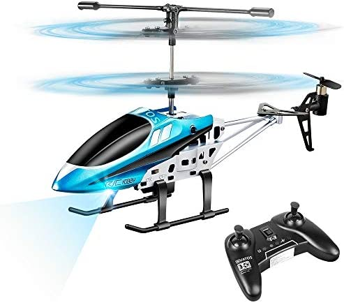 VATOS RC Helicopters Remote Control Helicopter with Gyro and LED Light 3 Channel Alloy Mini product image