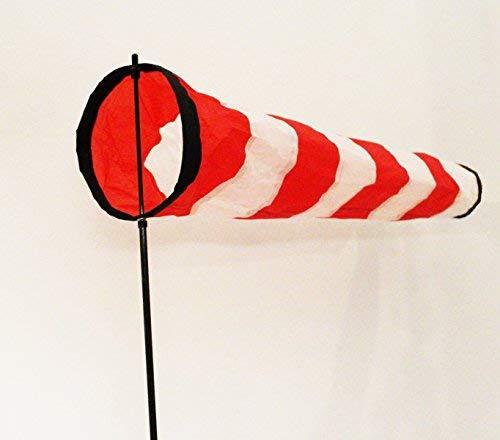 molinoRC Weiß - roter Windsack | wie auf Flugfeld | 2020 | Durchmesser 17cm | Standfuß 120cm | Windsack 70cm | Windsocke | Windspiel | Wetterfahne | Windturbine | inkl. stabilem Fiberglasstab