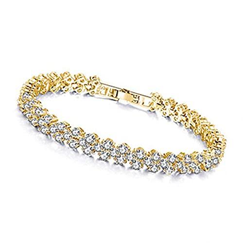 Pulseras para mujer, pulseras de diamantes de cristal romano, elegantes pulseras vintage para regalos de San Valentín