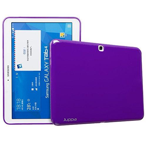 Juppa Samsung Galaxy Tab 4 10.1' SM-T530 SM-T531 Slim Fit Funda de gel TPU con protector de pantalla, gamuza de microfibra y tarjeta de aplicación (morado)