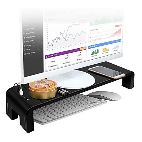 Beyi - Soporte de monitor USB Hub para transferencia de datos, almacenamiento de mesa, soporte de pantalla de ordenador y ordenador en ABS negro, 7,87 x 20,47 pulgadas, carga máxima 50 kg