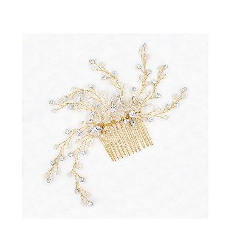 Yvonnelee Glitter-haarband met haaraccessoires, handgemaakt, elegant, met parels en kristallen, vintage-design, bruidssieraden, haaraccessoires
