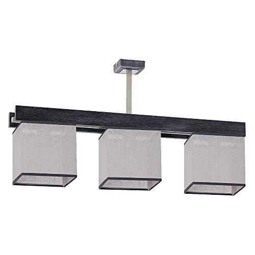 Elegante lámpara de techo en color negro y gris, estilo Bauhaus 3 bombillas E27 hasta 60 W, 230 V, de tela tejida y metal, iluminación interior