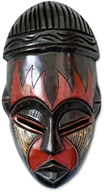 NOVICA Nigerian Red and Black Handcrafted African Rubberwood Mask with Brass Accents, Harvest Joy'