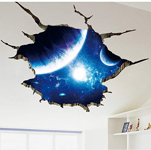 Outer Space Planets 3D Wall Stickers For Living Room Bedroom Floor Decoration Vinyl Diy Home Decor Wall Decals90X60Cm