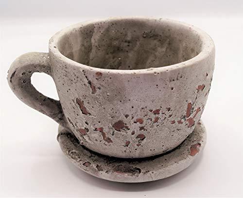 Rostalgie Keramik Pflanz-Tasse Vintage in 2 Größen Gartendeko Pflanzgefäß Geschenk-1 STÜCK (Keramik, klein 9,5 x 12 cm)