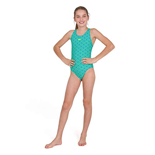 Speedo Girls' Boomstar Allover Muscleback Swimsuit, Pool/Fluo Yellow, 30 (11-12 YRS)