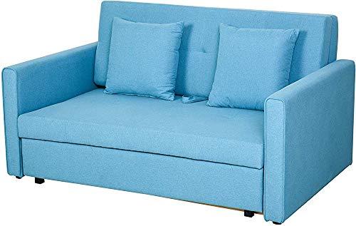 EYDSHIKL Moderno Estilo Minimalista de Dos plazas sofá Cama de Tela con Muebles de Almacenamiento,Blue