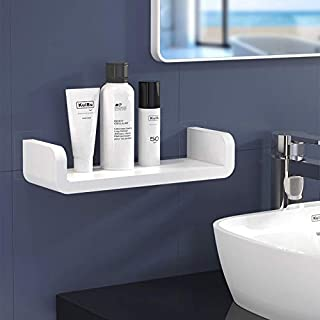 UniHome 12.5 Inch Bathroom Shelf, Self Adhesive No Drilling Wall Mounted Shower Caddy Rack, Removable Plastic Over Sink De...