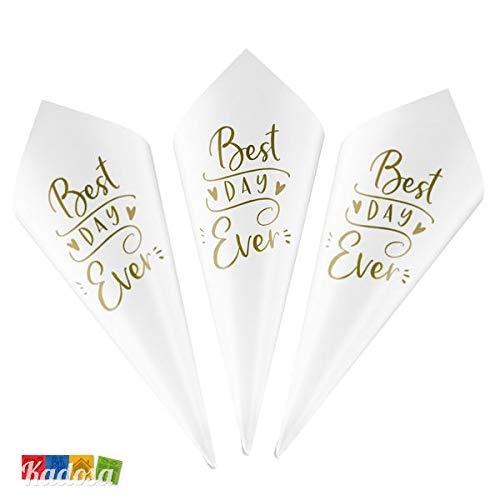 Kadosa Set 10 Coni Porta Riso in Cartoncino Bianco con Scritta Best Day Ever Color Oro - Wedding Matrimonio Portariso Lancia