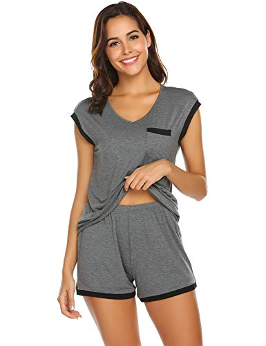 Schlafanzug Damen Kurz Pyjama Shorty Set Kurzarm Nachtwäsche Sommer Zweiteiliger Hausanzug Mit Sommerlicher Shorts & Shirt und Taschen Grau M