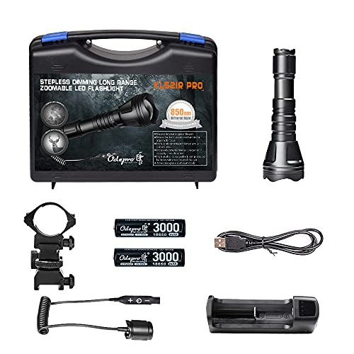 Odepro KL52IR-Pro 850nm IR Illuminator Flashlight Focus Adjustable Infrared LED Scope Mounted Hunting Light Torch with Stepless Dimmer Cable Switch, for Night Vision, Coyote Hog Predator Hunting