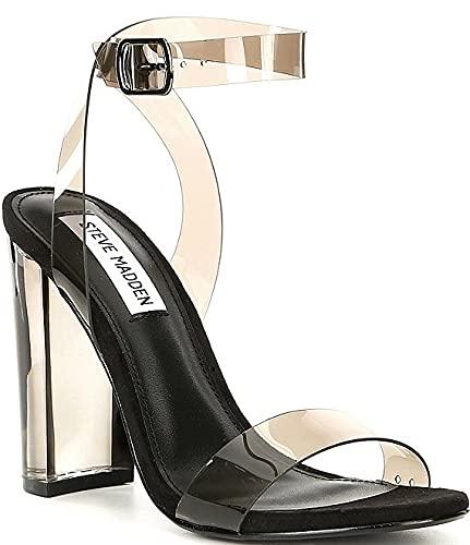 [スティーブマデン] シューズ 24.0 cm サンダル Camille Lucite Clear Block Heel Dress Sa Smoke レディース [並行輸入品]