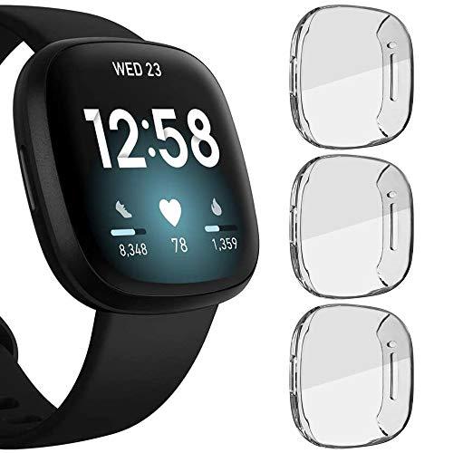 Compatible Fitbit Versa Lite Screen Protector Case, Besmon Soft TPU Watch Anti-Collision Case All-Around Protector Screen Rugged Bumper Case Cover for Fitbit Versa lite Smart Watch