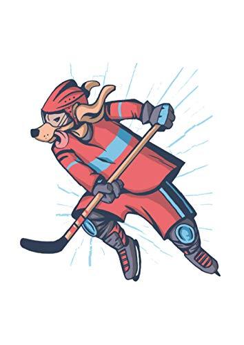 Notizbuch - Liniert: DIN A4, 144 Seiten | Dickes Liniertes Notizheft / Deutschheft / Schreibheft / Schulheft / Tagebuch mit Inhaltsverzeichnis und Softcover | Motiv: Hockey Hund Hunde Sport Tier