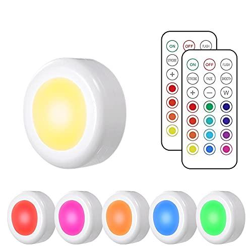 Luz Nocturna Lámpara LED Armario,Tomshine 6PCS Lámpara de Cocina Brillo Adjustable con Pilas con 2 Control Remoto Para Armario Pasillo Vitrina Cocina Garaje