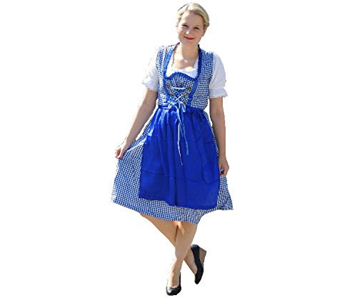SkinStar Dirndl Set van 3 TLG. klederdrachtjurk, blouse, schort, maat 34-44 OVP blauw