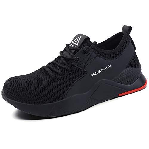 UCAYALI Zapatos de Seguridad con Punta de Acero para Hombre Zapatillas de Trabajo Puntera Reforzada Calzado de Protección Industria Construcción - Cómodos Ligeros y Antideslizantes(Negro, 48)