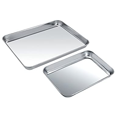 Baking Sheet Set of 2, Zacfton Stainless Steel Cookie Sheet & Baking Pan 2 Pieces Rectangle Size Non Toxic & Healthy,Superior Mirror Finish & Easy Clean, Dishwasher Safe