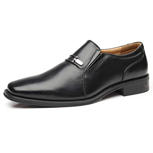 La Milano Men's Slip On Loafers Business Casual Comfortable Classic Leather Dress Shoes for Men, Loaf-4-black, 10