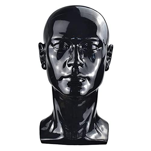 PVC-Mannequin-Kopf, schwarz, männlicher Mannequin-Ständer, Modell-Display für Hut, Schal, Perücken, Haar, Brille, Hut, Beauty-Styling-Werkzeug