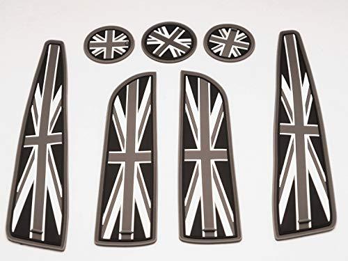 UK Flag Car Interior Accessories- 7 Piece Set Mini Cooper Accessories: Car Mats, Car Cup Holder, Side Door Mat- Resin Material Car Replacement Parts – compatible w/ 2007 - 2013 Mini Cooper S