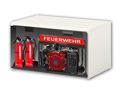 Stikkipix Feuerwehr Möbelfolie | BT33 | Möbelaufkleber mit Feuerwehr-Motiv | passend für die Kinderzimmer Banktruhe STUVA von IKEA (90 x 50 cm) | Möbel Nicht Inklusive