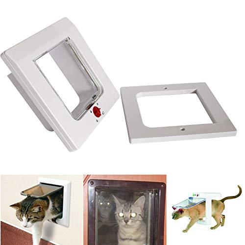 YUEBAOBEI Katzenklappe Haustierklappe Katze Hunde Tür, 4 Wege Abschließbare Klappe Safe Door Intelligente Steuerung, ABS Kunststoff Transparent Verschleißfest