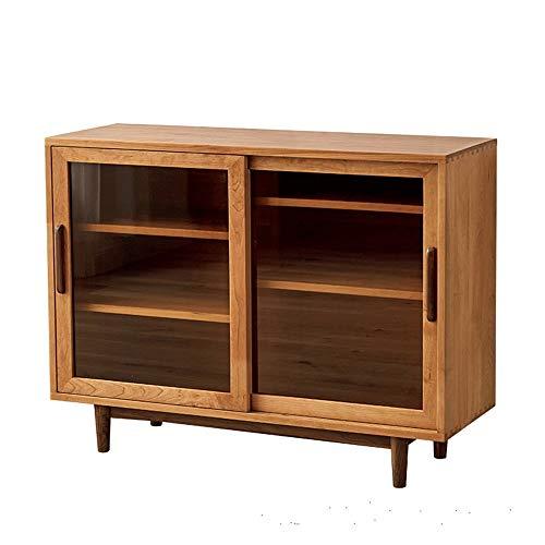 Guolipin Anrichte Buffet Credenza Bookmatched Universal-Standplatz for TV Wohnzimmer Kirschholz Breit Moderne Anrichte Wohnzimmer Entryway Tür Schlafzimmer (Color : Wood, Size : 100x91x42cm)