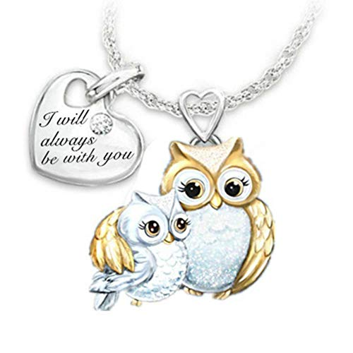 Owl Necklace Animals Bird Shape Rhinestone Zirconia Mother and Child Pendant Necklaces Cartoon Choker Jewelry Love Gifts for Daughter Mom Women Girls I Will Always be with You